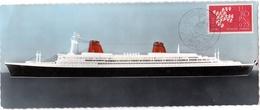 Paquebot FRANCE Oblitération 1er Jour Saint-Nazaire 19 Nov 1961 Sur Carte Grand Format 9 X 22 - 1961-....