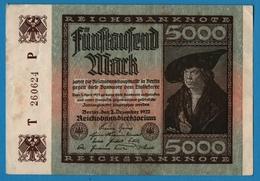 DEUTSCHES REICH 5000 Mark02.12.1922    # T 260624 P  P# 81a   ( 6 Digit Serial #) - 5000 Mark