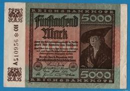 DEUTSCHES REICH 5000 Mark02.12.1922    # A510956 * OH   P# 81b - 5000 Mark