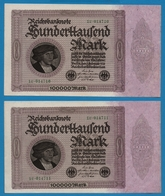 DEUTSCHES REICH 2x 100.000 Mark  01.02.1923# 1U.014710+11  P# 83a   No Consécutifs - [ 3] 1918-1933 : República De Weimar