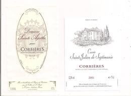 Etiquettes Corbières - St Julien De Septimanie 2001 Et Domaine Ste Agathe  2000 - Celliers De L'Iliade - - Languedoc-Roussillon