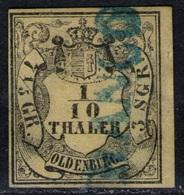 Franco In Blau Auf 1/10 Thaler Zitrongelb - Oldenburg Nr. 4 B - Oldenburg