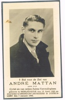 INGELMUNSTER  - OBERNDORF AM NECTAR Doodsprentje Van ANDRE MATTAN - OORLOGSLACHTOFFER + 1945 - Devotion Images