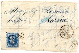 Nord - Devant De L Affr N° 29A Obl GC 1570 - C 15 Fournes-en-Weppes - 1863-1870 Napoléon III Lauré