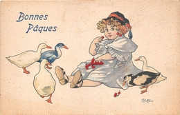 "¤¤  -  Illustrateur  "" BOTTARO ""  -  Bonne Pâques  -  Petite Fille , Oies , Canards , Cerises   -  ¤¤ - Bottaro"