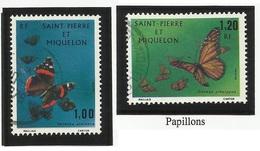 SAINT PIERRE ET MIQUELON SPM N° 441 Et 442 ° Oblitérés 1975 Papillon - St.Pierre Et Miquelon