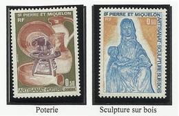 SAINT PIERRE ET MIQUELON SPM N° 443 Et 444 ** Neufs 1975 Poterie Sculpture Sur Bois - St.Pierre Et Miquelon