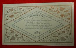 19°Siecle Vieille Carte Belge Flamande Carolus Syts  Avec Délicat Décor  Lith Busscher Frères CDV 10 X 6 Cm Néerlandais - Historical Documents