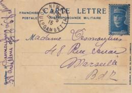 Correspondance Militaire / Carte Lettre / Départ Nîmes. - Franchise Militaire (timbres)