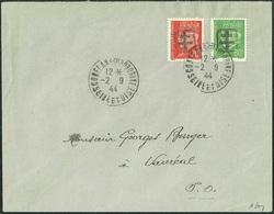 FRANCE LIBERATION  .RR.. CONFLANS St HONORINE 70c Oge +80c Vert Sur ENV..CAD 2/9/44...P MAYER - Liberation