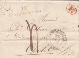 LETTRE. 20 OCT 1835. CURSIVE 16 / Croix-Chapeau. CHARENTE INFERIEURE. T13 LA ROCHELLE ECRITE DE BALLON. POUR CHOLET. - 1801-1848: Voorlopers XIX