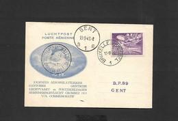 """Carte Commémorative """"Journées Aérophilatéliques Gantoises"""" Courrier Parachuté Du 13/09/1946 - Airmail"""