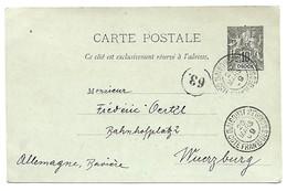 OBOCK   : Entier Carte Postale Oblitéré Et Ayant Voyagé - Obock (1892-1899)