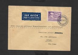 1 Er Liaison Aérienne Bruxelles - Mons Par Parachutage 13/09/1946 - Airmail