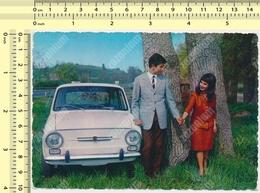 1960s Old Car, FIAT 850 Couple, Automobile Couple D'amoureux, Yugoslavia Stamp, Original  Postcard - Turismo