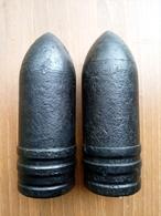 LOT 2x 7,5cm Pzgr. 39/42 Panther ALLEMANDE German OBUS PROJEKTIL Projektil  Neutralisé - 1939-45