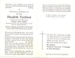 Devotie Doodsprentje Overlijden - Oudstrijder Hendrik Verbiest Echtg Bertha Van Looy - Baal 1893 - Pijpelheide Booischot - Décès