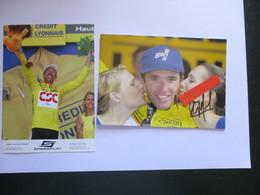 Cyclisme Lot De 2 Photos Tour De France  Maillots Jaunes  Heulot Et Voigt - Cyclisme