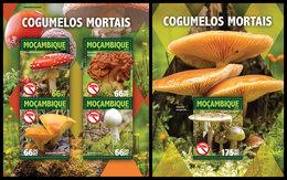 MOZAMBIQUE 2016 - Toxic Mushrooms - YT CV=41 €, 6854-7 + BF1040 - Piante Velenose