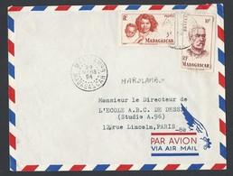 Madagascar Enveloppe Y/T 313 Et 315 Cachet à Date MAROLAMBO Du 29/3/1954 Vers Paris - Lettres & Documents