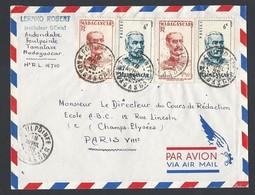 Madagascar Enveloppe Y/T 308x2 Et 314x2 Cachet à Date FOULPOINTE Du 18/4/1955 Vers Paris Vers Paris - Madagascar (1889-1960)