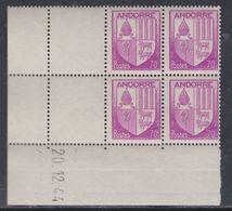 Andorre N° 60 XX Armoiries Des Vallées : 70 C. Violet  En Bloc De 4 Coin Daté Du 20 . 12 . 44, Sans Charnière, TB - Nuevos
