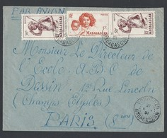 Madagascar Enveloppe Y/T 303x2 Et 313 Verso 303x2-313-308-315 Et 317  Cachet à Date VONDROZO 21/11/1951 - Lettres & Documents