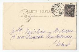 Marcophilie Cachet 1899 Grenoble Pour Paris - Marcophilie (Lettres)