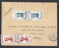 Madagascar Enveloppe Y/T308x2 Et 314x2 Cachet à Date Bleu MIDONGY Du SUD Du 23/4/1953 Vers Paris - Madagascar (1889-1960)