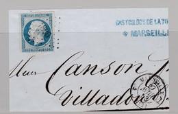 N° 10 PC 1896 + T 15 Marseille 27 Avril 53 S / Fragment ( Dept 12 ) - Marcophilie (Timbres Détachés)