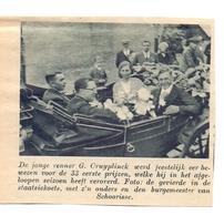 Orig. Knipsel Magazine - De Renner C. Cruyplinck In Koets Met Burgemeester Van Schorisse - 1938 - Non Classés