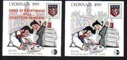 BLOCS CNEP 10 Et 11 SALON PHILATELIQUE LYON 1989 GUIGNOL BLASON  BLOC SURCHARGE ANNEE DU BICENTENAIRE COTE 68.00€ - CNEP