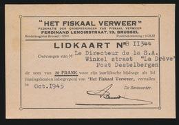 DESTELBERGEN LIDKAART ,, HET FISKAAL VERWEER ,,  1945 - Destelbergen
