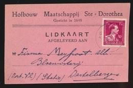 DESTELBERGEN LIDKAART  HOFBOUW MAATSCHAPPIJ STE DOROTHEA  1946 - Destelbergen