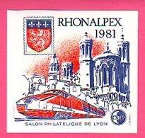 BLOC CNEP N° 2  SALON PHILATELIQUE DE LYON  RHONALPEX 1981 TGV Cnep 02 - CNEP