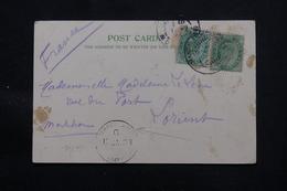 INDE - Oblitération Maritime De Bombay Sur Carte Postale De Rangoon En 1908 Pour La France, Affr. Plaisant - L 57992 - 1902-11 King Edward VII
