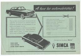 Automobile - SIMCA , Division Vedette 23.8 X 16 Cm Environ - Automobilismo