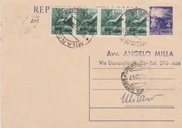 ITALIA - MILANO - INTERO POSTALE -  LIRE.4 CON F.LLI AGGIUNTA - VIAGGIATA  PER MILANO - Postwaardestukken