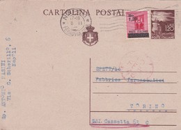 ITALIA - NAPOLI - INTERO POSTALE - LIRE. 1.20 CON F.LLI AGGIUNTA - VIAGGIATA  PER TORINO - Marcofilie