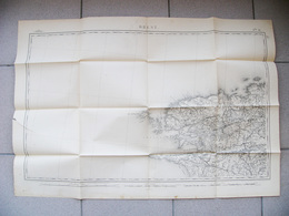 Grande Carte état Major 1857 BREST ILE DE SEIN OUESSANT DOUARNENEZ ROSCOFF SAINT POL DE LEON LANDERNEAU BRETAGNE BREIZH - Landkarten