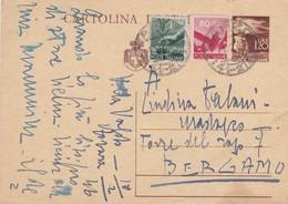 ITALIA - VARZO (VB) - INTERO POSTALE - LIRE. 1.20 CON F.LLI AGGIUNTA - VIAGGIATA  PER BERGAMO - 5. 1944-46 Lieutenance & Humbert II: