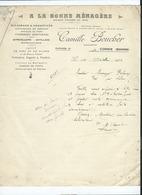 Facture -  Camille Boucher -  Corbie  -(Somme) -  A La Bonne Ménagère - Quincaillerie - Outillage - Maréchalerie - - Corbie