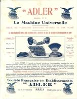 ADLER . MACHINE A ECRIRE UNIVERSELLE - Publicités