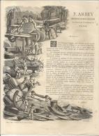 F . ARBEY . INGENIEUR MECANICIEN . PARIS 1879 . SUPERBE GRAVURE . TRAVAIL DU BOIS - Advertising