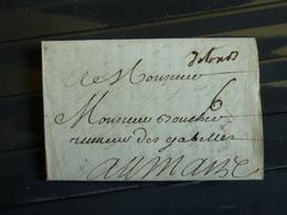 """D1 -  Lettre De Tours Au Receveur Des Gabelles Au Mans - Marque Postale Manuscrite """" De Tours"""" (a Confirmer) Et 6 - Marcophilie (Lettres)"""