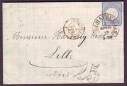 """HAUT RHIN - LAC - Tàd T48 MULHAUSEN I. ELS. (13-8-1871) Sur 2 Groschen Bleu (Empire Allemand) + Taxe DT """"25"""" (T31) - Elsass-Lothringen"""