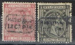 Serie Completa, FILIPINAS 1878 Habilitados, Colonia Española, Alfonso XII,  Num 61-62 º - Filipinas