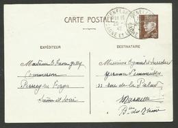 SAONE ET LOIRE / GENELARD / 80c Entier Pétain 20.02.1942 - 1921-1960: Modern Period