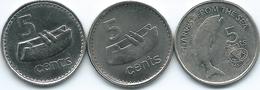 Fiji - Elizabeth II - 5 Cents - 1992 - KM51a; 1995 - FAO - KM77 & 2010 (KM119) - Fiji