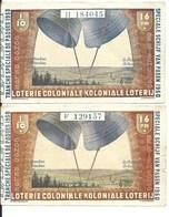 1950 Koloniale Loterij Paastrekking 2 Loten 1/10 Loterie Coloniale - Historische Dokumente